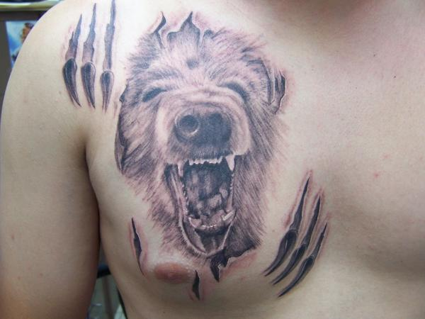 Bear Chest Tattoo Angry Bear Face Tattoo Design