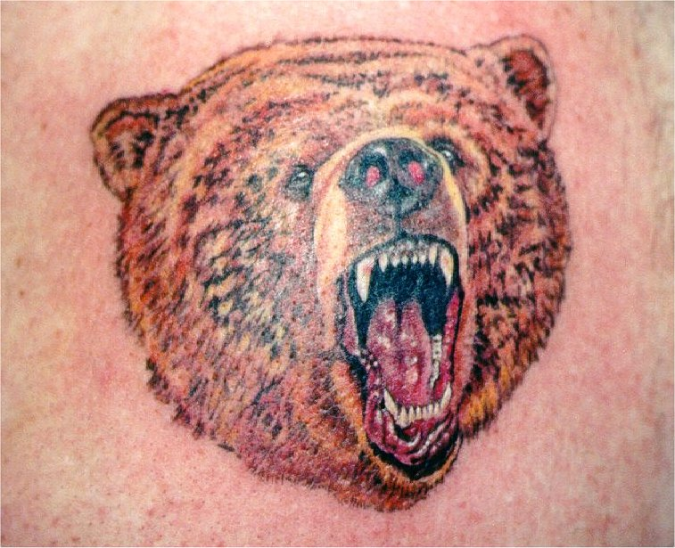 Angry Bear Face Tattoo