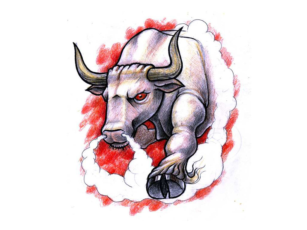 Angry Bloody Bull Tattoo Design