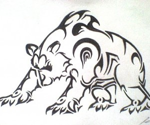 Angry Tribal Bear Tattoo In Fight Position
