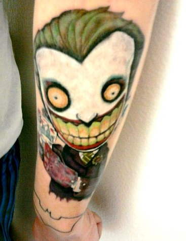 Animated Cartoon Joker Tattoo On Forearm
