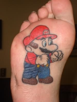 Animated Cartoon Tattoo On Foot