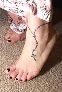 Ankle Rosary Tattoo