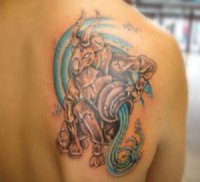 Aquarius Tattoo On Right Shoulder Blade