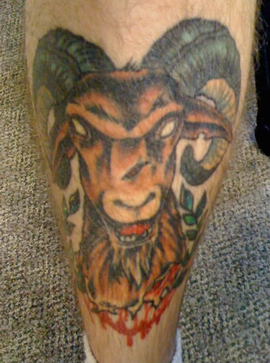 Aries Goat Head Tattoo On Leg