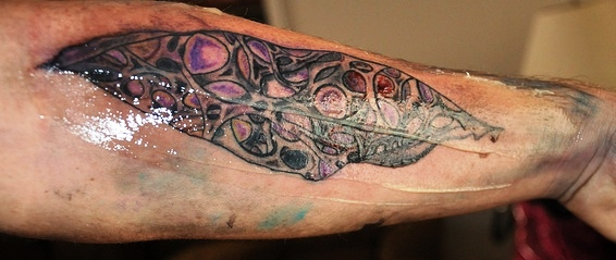 Biomechanical Tattoo On Arm