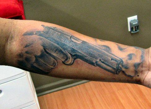 Army Hand Gun Tattoo Design