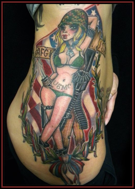 Army Pin Up Girl Tattoo On Rib Side