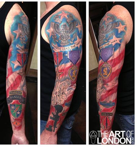 Full Sleeve Army Ranger Memorial Tattoo Design