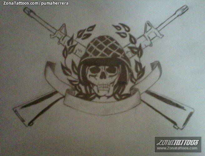 Army Skull & Guns Tattoo Design