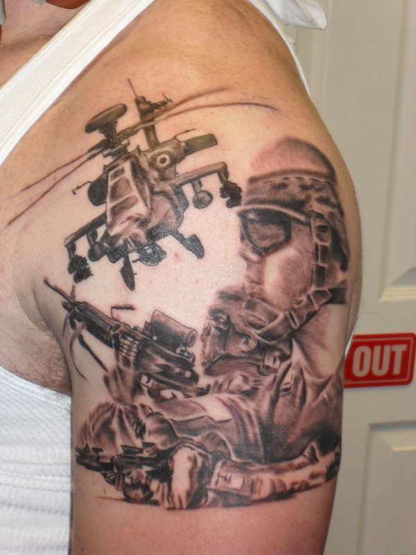 Army Sniper & Helicopter Tattoo Design