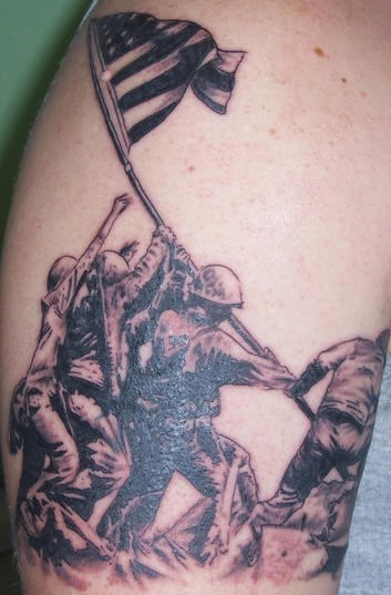 Army Soldiers With Flag Tattoo