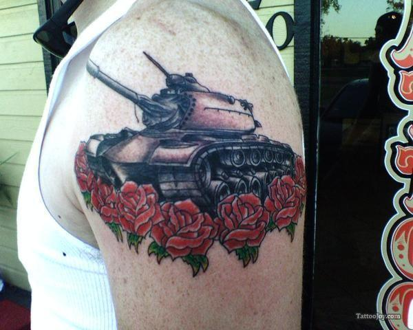 Army Tank Roses Tattoo