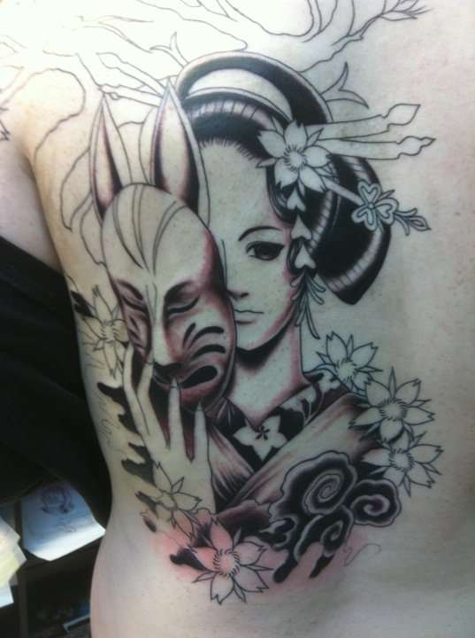 Asian Anime Geisha Tattoo