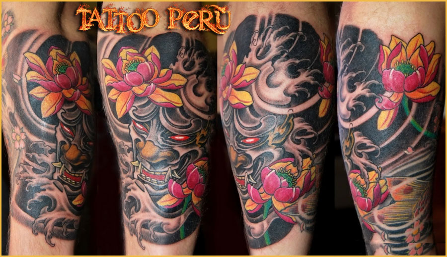 Asian Demons & Flowers Tattoo Designs