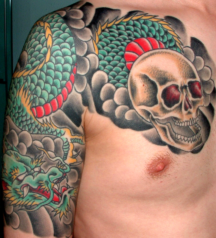 Asian Dragon Tattoo On Arm & Chest