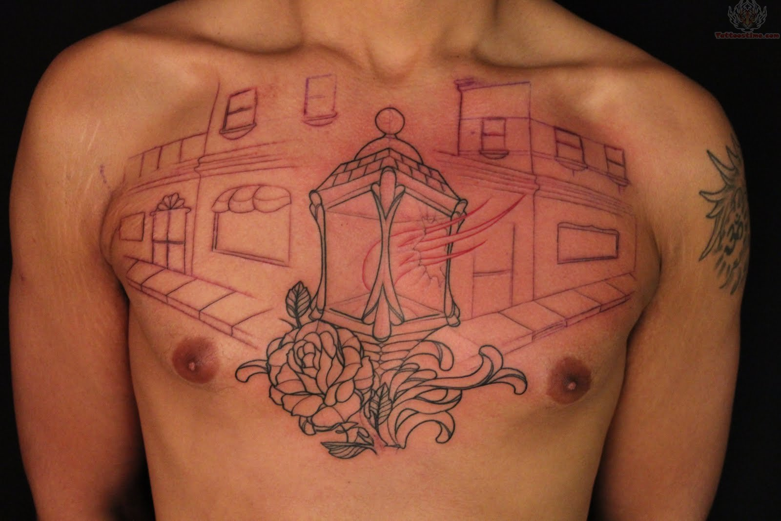 Asian Light Lamp Tattoo On Chest