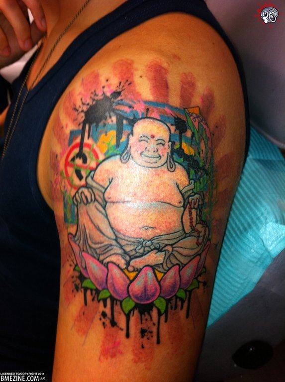 Asian Lord Buddha Sitting On Lotus Tattoo Design