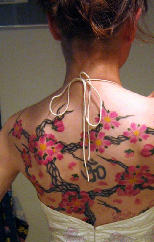 Asian Om & Blossoms Tattoo For Girls