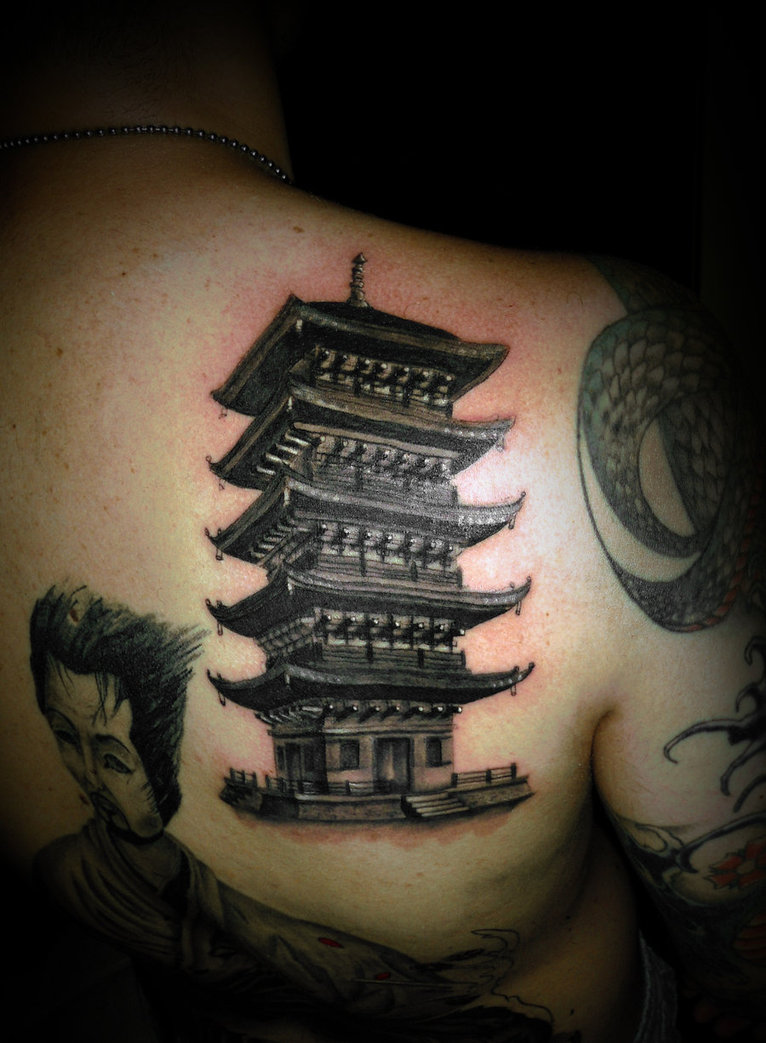 Asian Temple Tattoo On Shoulder Back