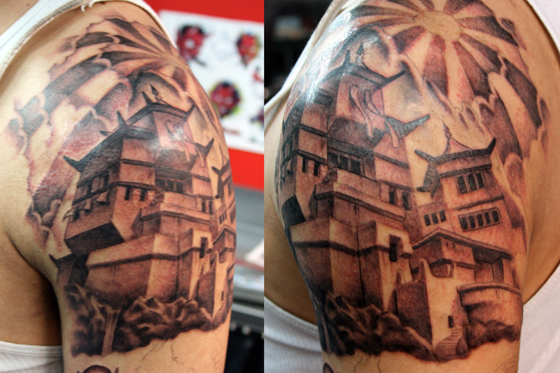 Asian Temple Tattoo On Shoulder