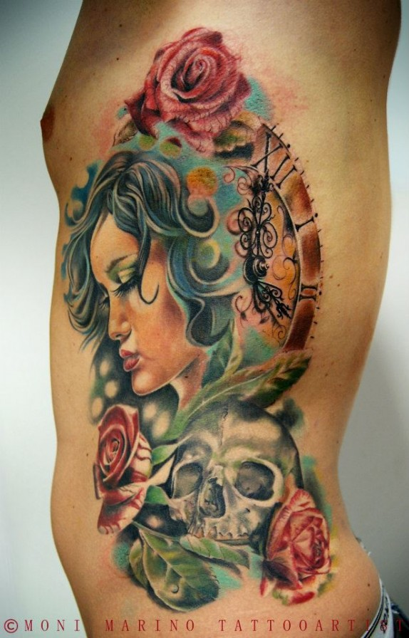 Asian Woman With Skull & Roses Tattoo On Rib Side