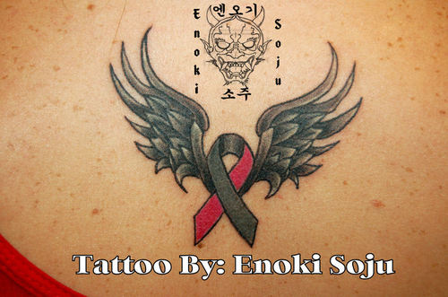 Awesome Angel Wings Breast Cancer Ribbon Tattoo