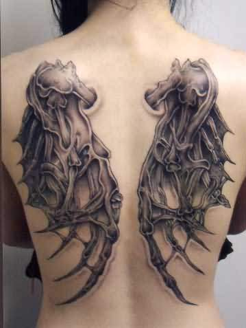 Awesome Angel Wings Tattoo Design On Back