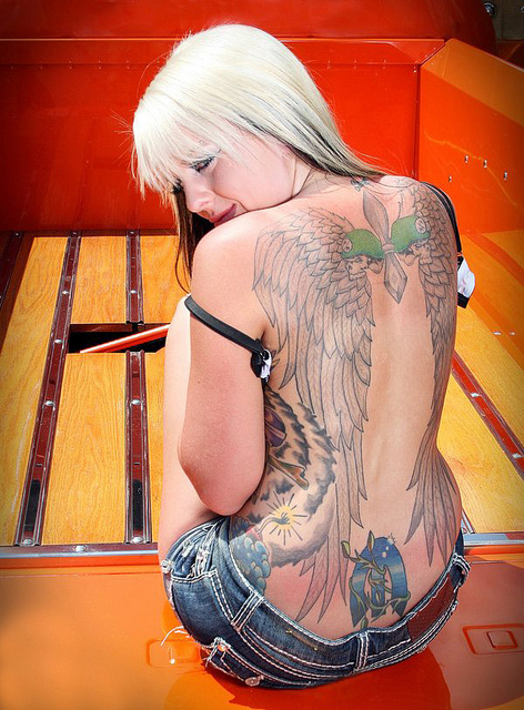 Awesome Angel Wings Tattoo On Back