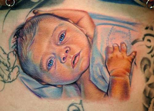 Awesome Baby Portrait Tattoo