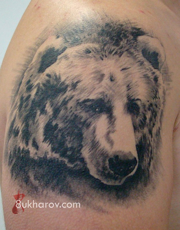 Awesome Bear Face Tattoo