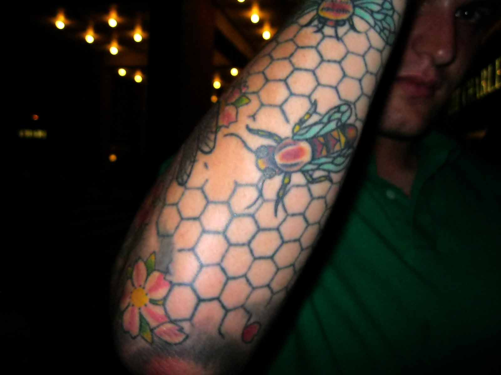 Awesome Bee Tattoo On Guy's Arm