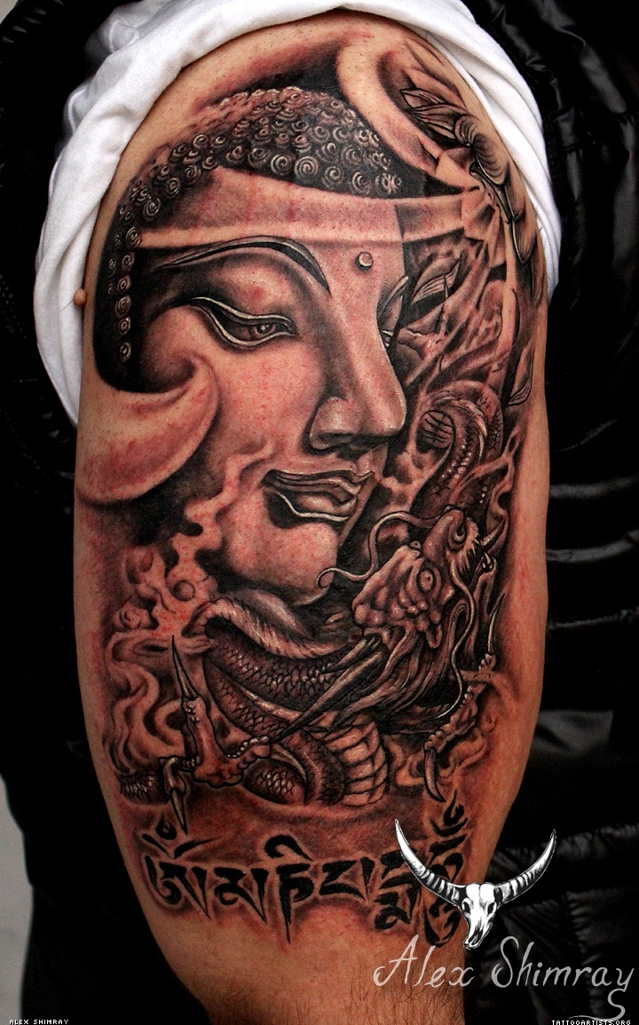 Awesome Half Sleeve Buddha Tattoo