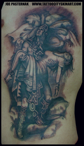 Aztec Warrior Holding Maiden Tattoo