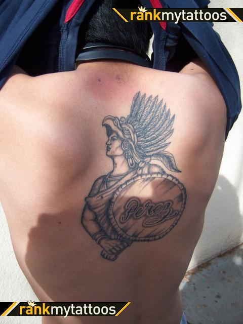 Aztec Warrior Tattoo On Back