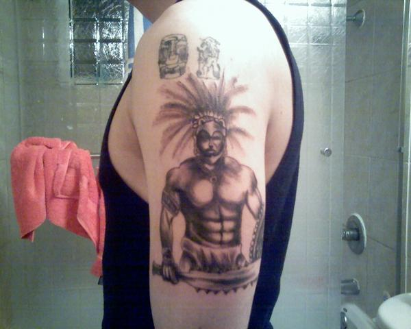 Aztec Warrior Tattoo On Muscles
