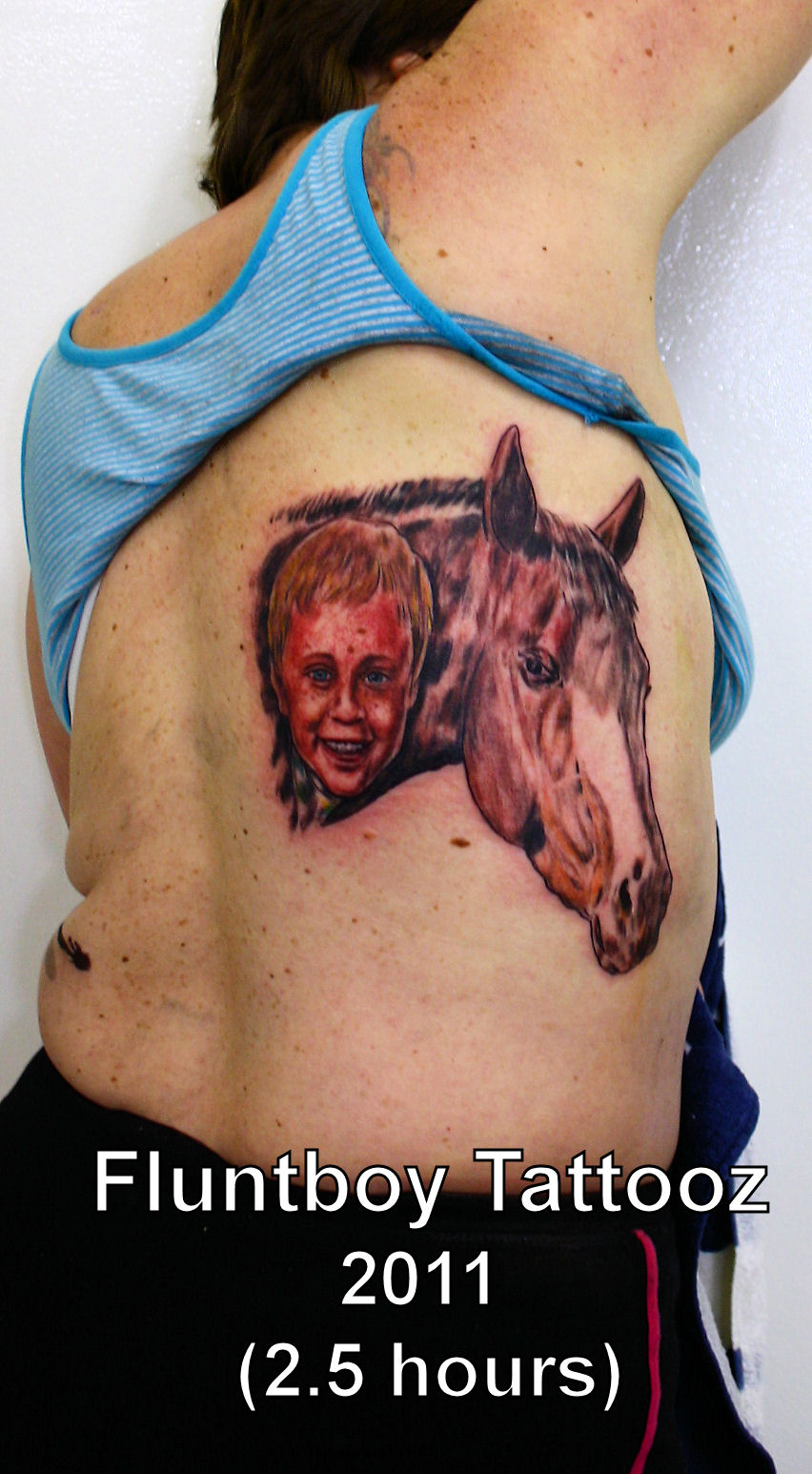 Baby & Horse Portrait Tattoo