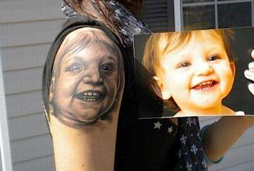 Baby Portrait Tattoo On Shoulder