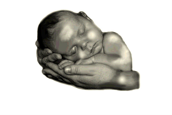 Baby Sleeping In Hands Tattoo Design