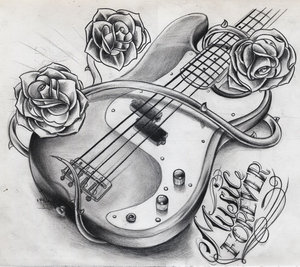 Band Guitar With Roses Tattoo Design