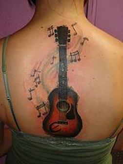 Band Guitar With Musical Symbols Tattoo Design