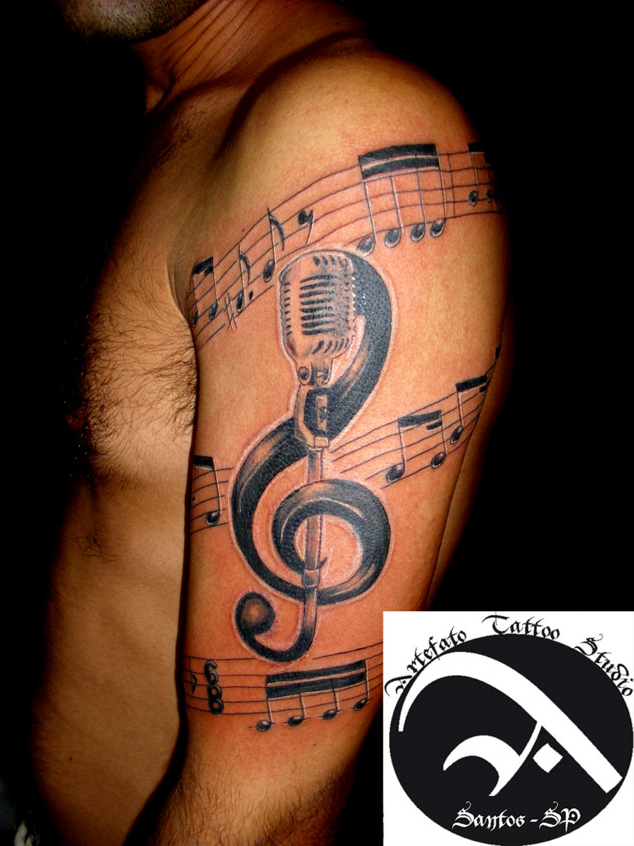 Band Mic & Notes Tattoo Design
