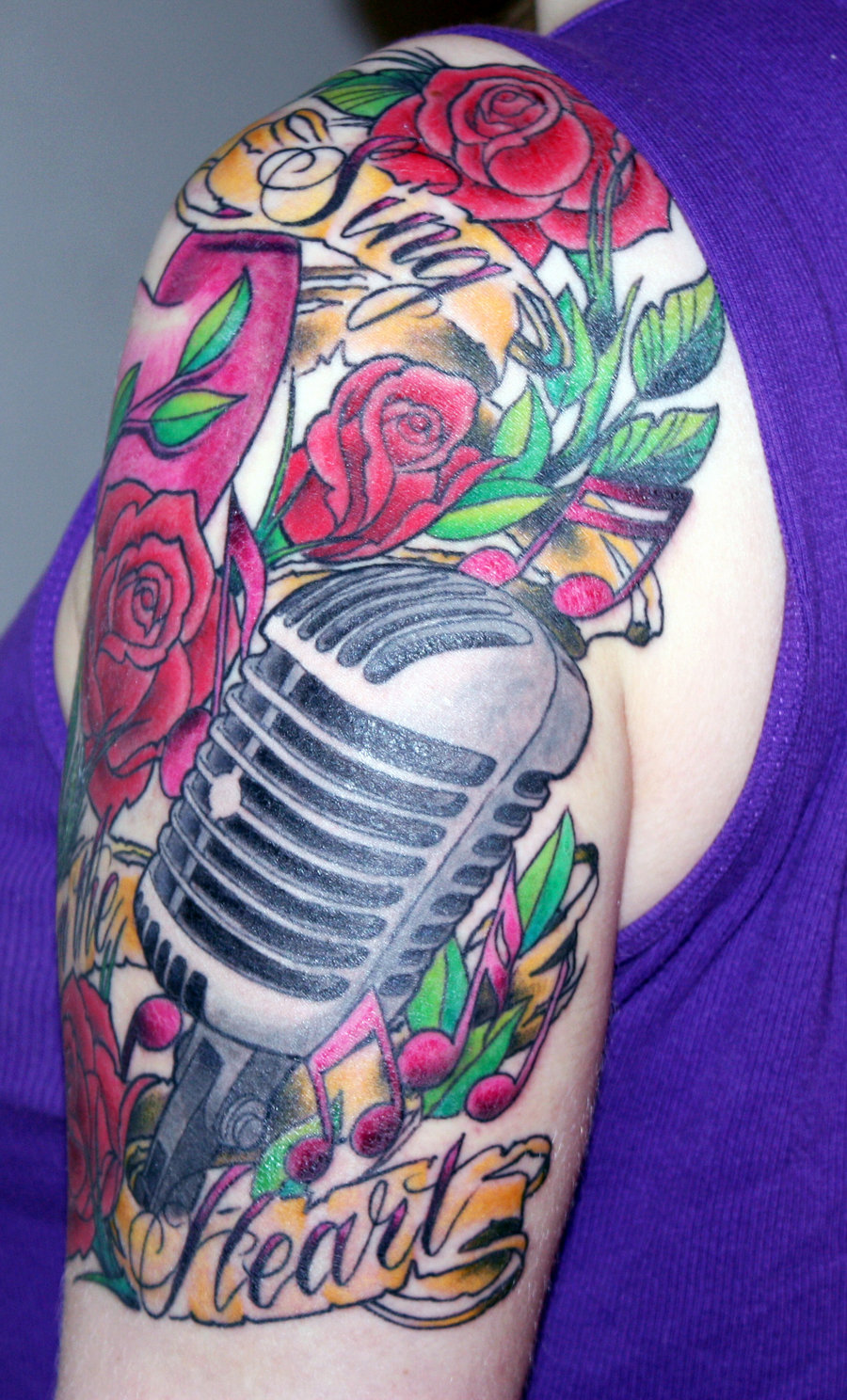 Band Mic Tattoo With Red Roses & Banner