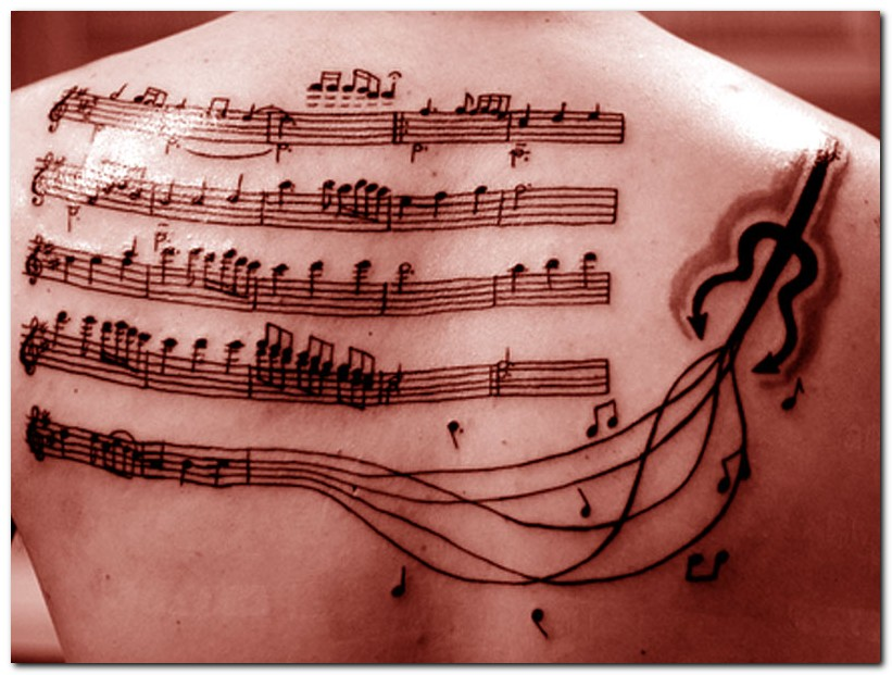 Band Notes & Guitar Tattoo Design On Upper Back