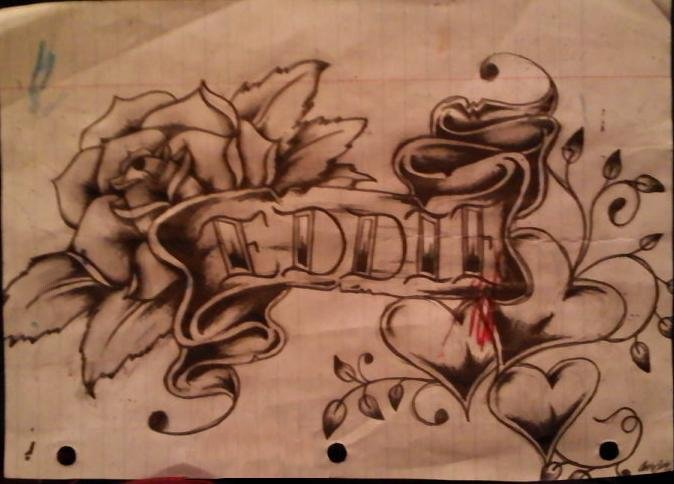 Banner & Roses Tattoo Design