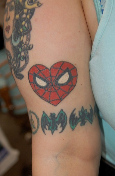 Bat Arm Band & Spiderman Heart Tattoo