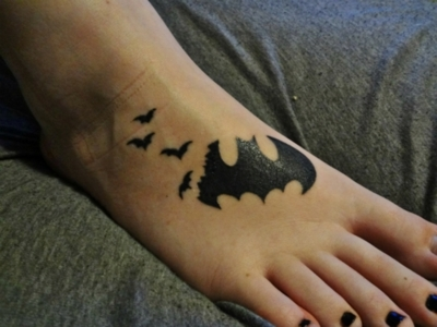 Batman & Bats Tattoo Design On Foot
