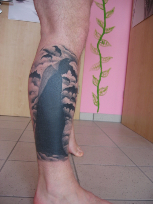 Batman & Bats Tattoo On Leg