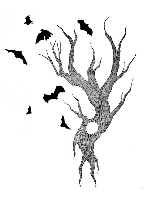 Bats & Bird Flying On Tree Tattoo Design