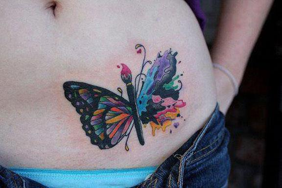 Beautiful Butterfly Tattoo On Belly